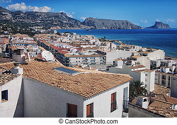 Aerial view of Altea, Spain - View of white houses of old...