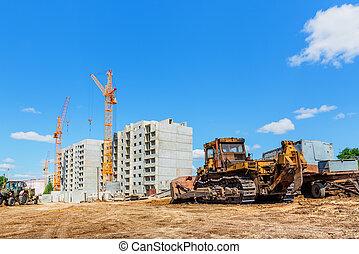 konstruktion, maskiner, plats