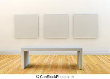 3, blanco, lonas, ahorcadura, en, Un, galería,...