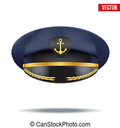 Captain peaked cap with gold anchor on cockade. Vector...
