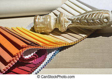 Swatches of fabrics for decoration,