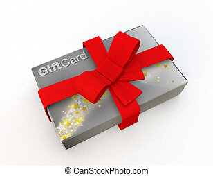 stack of silver gift cards wrapped in a red bow - gift cards...