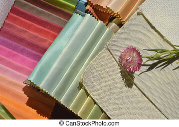 Swatches of fabrics for home decoration
