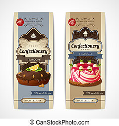 Sweets vintage banners vertical - Decorative sweets vertical...
