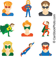 Superhero icon flat - Superhero boys and girls avatars in...