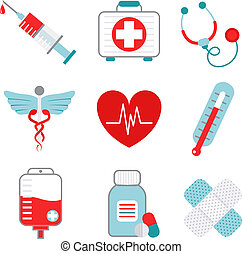 Medicine icons set - Decorative medical emergency first aid...