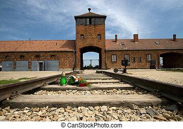 Auschwitz Birkenau - Main entrance to Auschwitz Birkenau...