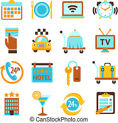 Hotel services flat icons set - Hotel travel 24h room...