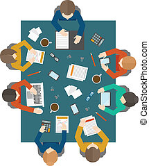 Business meeting in top view - Flat style office workers...