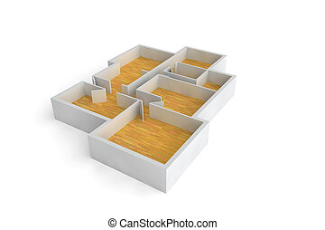 floorplan for a typical house or office building wooden...