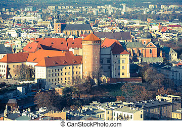 Royal Wawel castle with park in Krakow, Poland film style...
