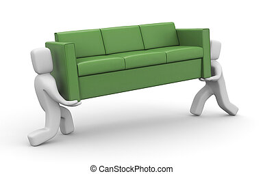 Moving metaphor. People carry sofa - People at work...
