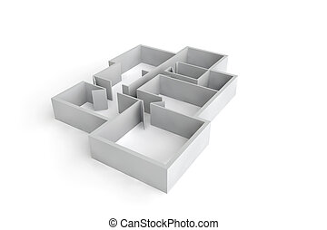floorplan for a typical house or office building - white...