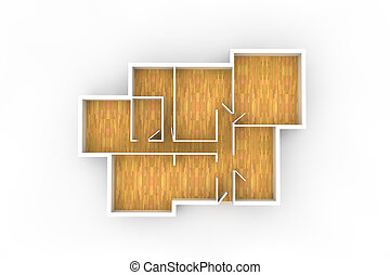 floorplan for typical house or office building with wooden...