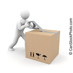 Human packing box - People at work metaphor Isolated on...