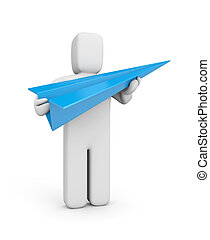Person hold blue paper plane - Conceptual image. Isolated on...