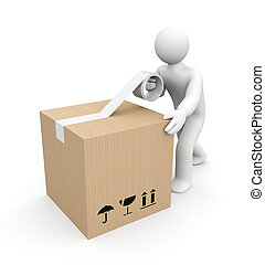 Human packing box - People at work metaphor. Isolated on...