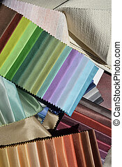 Swatches of fabrics for decoration, different colors and...