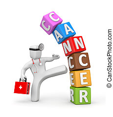 Doctor fights with cancer - Healthcare and Medical concept...