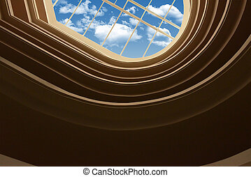 Wall and window in ceiling
