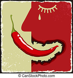 Vintage poster with chili pepper. Vector