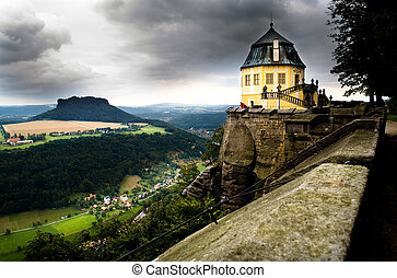 Saxon Switzerland. Elbe river view from castle Koenigstein.