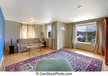 Living room interior with blue wall