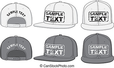 Rap cap, front, back and side view. Vector - Baseball cap...