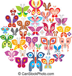 Butterflies round vector illustration. Isolated on white...