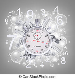 Stopwatch with figures and gears. Gray background