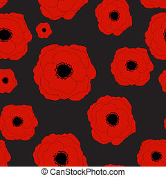 Red Poppies Flower Seamless Pattern Background Vector...