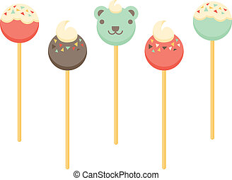 Cake Pops - A set of cake pop illustrations.