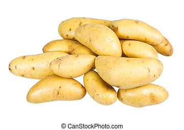 White fingerling potatoes isolated on white - Group of fresh...
