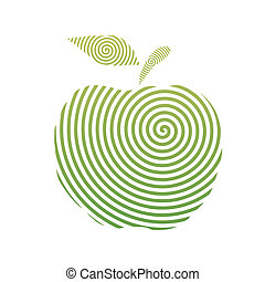 apple spiral - This is a line art illustration of apple