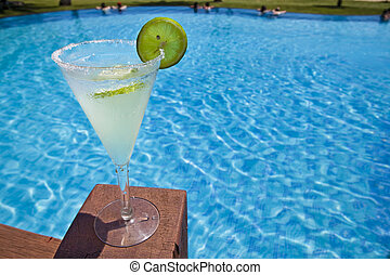 Cocktail. - Colorful cocktail with a swimming pool in the...