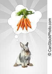 The rabbits think - A little rabbit thinks to tasty carrots...