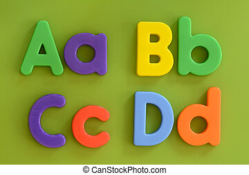 Close up of Aa, Bb, Cc, Dd, in colorful plastic letters on...