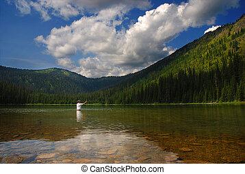 Montaña, pescador, lago