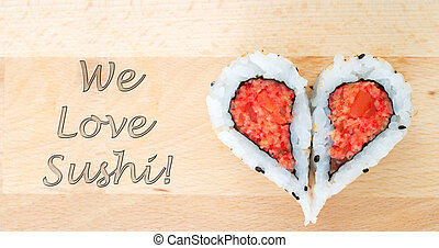 Love sushi concept with two pieces of sushi forming the...