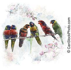 Watercolor Image Of Colorful Parrots - Watercolor Digital...