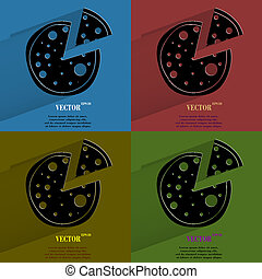 Color set Pizza. Flat modern web button with long shadow and space for your text