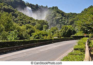 View of Marmore Falls from street, Umbria, Italy