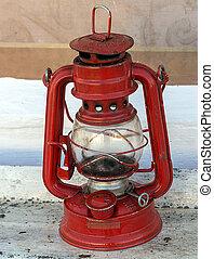red lantern - Vintage lamp red lantern, rusty kerosene lamp