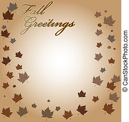 Fall Greetings Vector Background - Background with leaves...