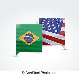 brazil and us communication illustration design over a white...