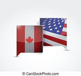canada and us communication illustration design over a white...