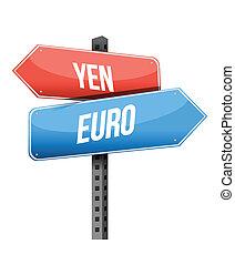 yen euro street sign illustration design over a white...