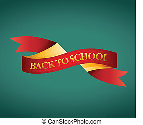 back to school ribbon illustration design