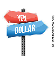 yen dollar street sign illustration design over a white...