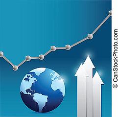 dot business globe illustration design over a blue...